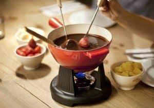 fondue de chocolate con hornilla