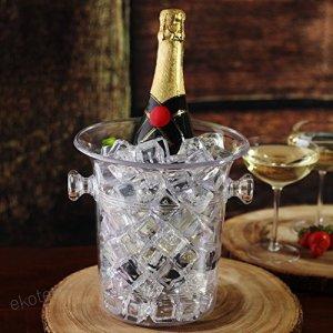 cubo de champán transparente