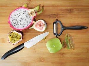 cuchillo de cerámica y pelador
