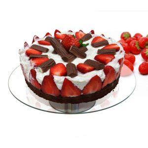 pastel de fresa en un plato para pastel